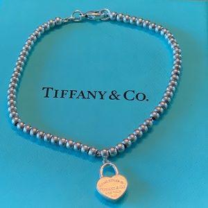 Tiffany & Co heart bead ball bracelet 7 inches
